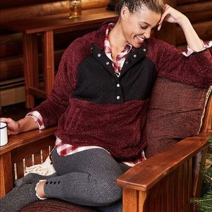🎄SIZE XS BURGUNDY QUILTEDSHERPA PULLOVER